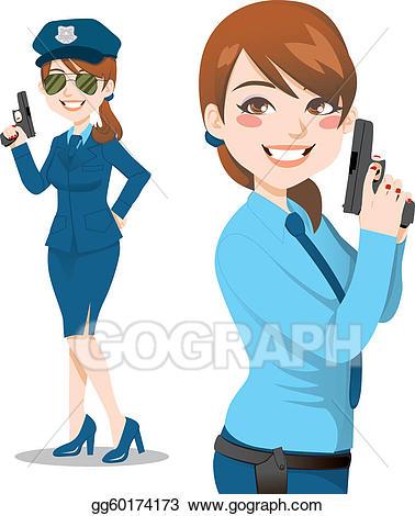 Policewoman clipart jpg library stock Vector Stock - Pretty police woman. Clipart Illustration ... jpg library stock