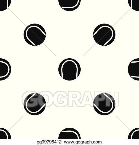 Polka dot ball black and white clipart vector free download Vector Illustration - Black and white tennis ball pattern ... vector free download