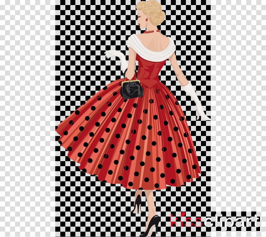 Polka dot dress clipart