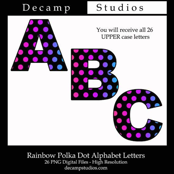 Polkadot letter s clipart png freeuse stock Rainbow Polka Dot Alphabet Letters Printable Clip art Digital ... png freeuse stock