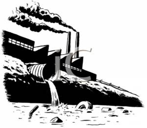 Polluted river clipart jpg royalty free stock Black and White Clipart Picture of a Factory Spewing Waste into a ... jpg royalty free stock