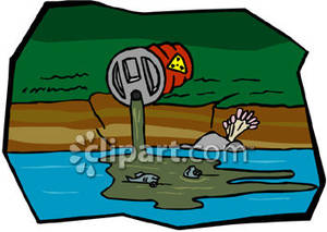 Polluted river clipart graphic freeuse download Waste Drum Pouring Into a River - Royalty Free Clipart Picture graphic freeuse download