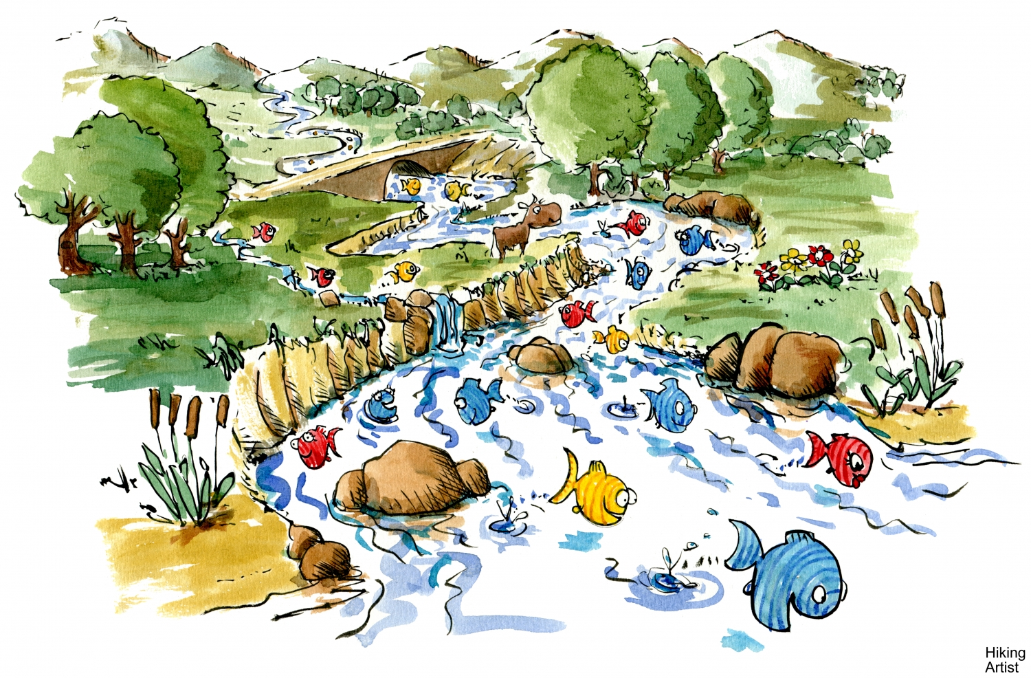 Polluted river clipart clip art transparent fish-swimming in river illustration | The Hiking Artist project clip art transparent