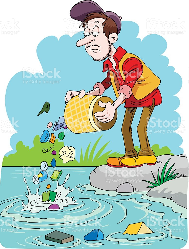 Polluted river clipart transparent Man Trowing Trash In The River stock vector art 510696288 | iStock transparent