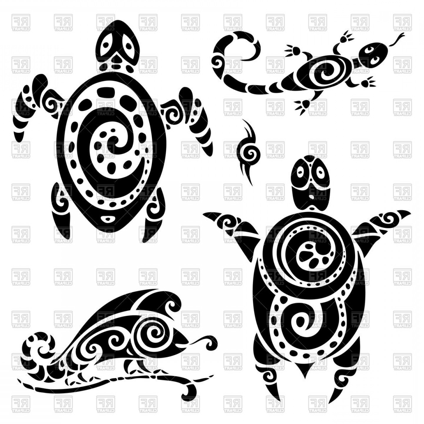 Polynesian clipart image black and white library Tribal Polynesian Tattoo Lizard And Turtle Vector Clipart ... image black and white library