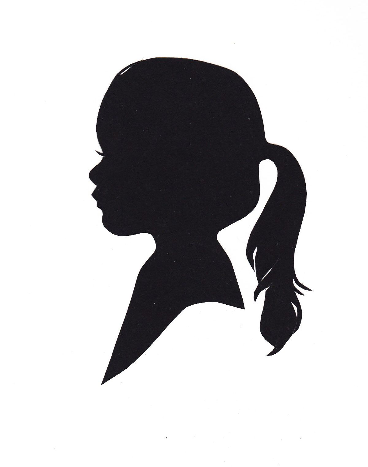 Ponytail girl hair clipart black and white png library Silhouette of a little girl with ponytail | Decorative ... png library