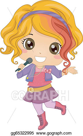 Pop idol clipart graphic library download Vector Illustration - Little girl pop star. Stock Clip Art ... graphic library download