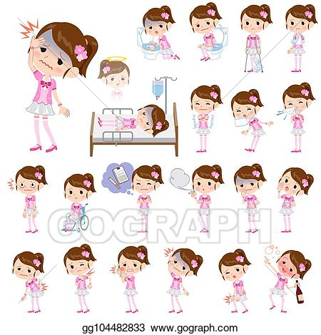 Pop idol clipart picture library download Vector Clipart - Pop idol in pink costume sickness. Vector ... picture library download