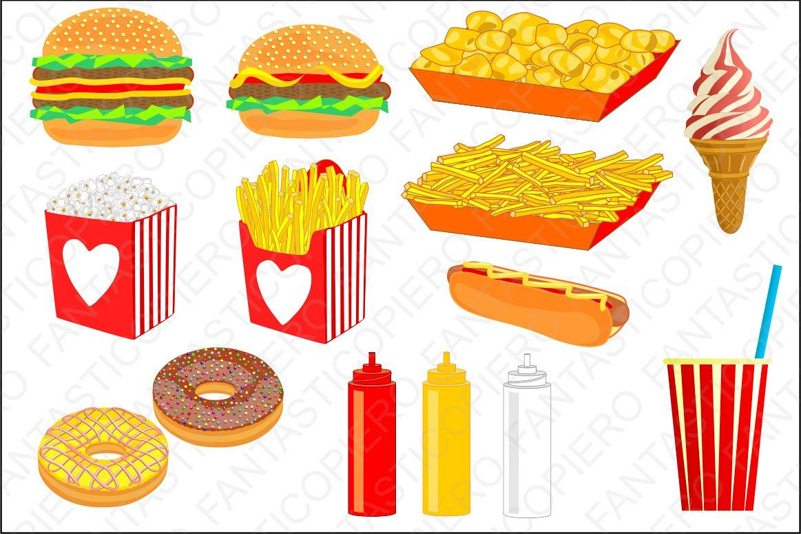 Popcorn background clipart svg library library Fast food cclipart hamburger chips popcorn nuts hot dog ice cream cola  clipart JPG files and PNG files, transparent background. svg library library