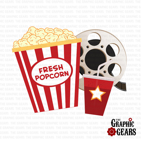 Movie and popcorn clipart black and white stock Movie reel and popcorn clipart film reel and soda pop corn ... black and white stock