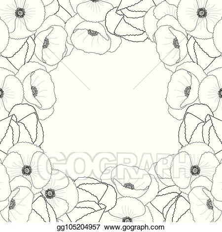 Poppy outline clipart jpg black and white stock Vector Illustration - Corn poppy outline border2. Stock Clip ... jpg black and white stock