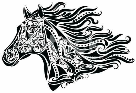 Portrait of horse head peeking out of vintage truck clipart banner black and white Paisley horse head Google | Horse | Horse drawings, Art ... banner black and white