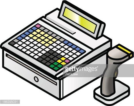 Pos image clipart vector black and white Pos Cash Register premium clipart - ClipartLogo.com vector black and white