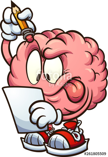 Posses clipart image transparent download Cartoon brain looking at a piece of paper and thinking clip ... image transparent download