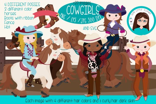 Posses clipart picture royalty free download Cowgirls clipart SVG bundle picture royalty free download
