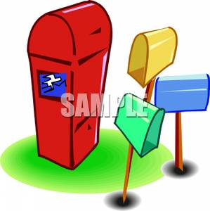 Post office drop box clipart graphic black and white download Clip Art Image: Three Mailboxes Around a Post Office Drop Box graphic black and white download