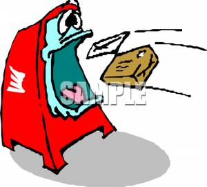 Post office drop box clipart png library download A Post Office Drop Box Eating a Letter and a Package - Clipart png library download