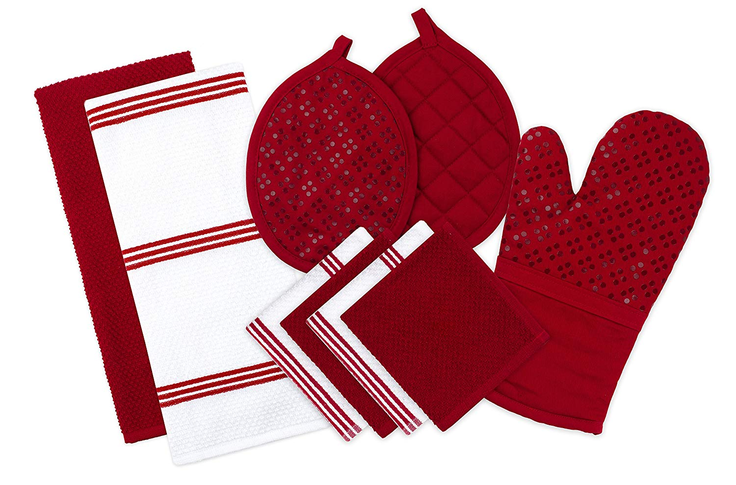 Pot holder clipart clip freeuse stock Sticky Toffee Silicone Printed Oven Mitt & Pot Holder, Cotton Terry Kitchen  Dish Towel & Dishcloth, Red, 9 Piece Set clip freeuse stock