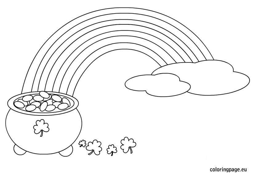 Pot o gold clipart black and white free image black and white download Rainbow with a Pot of Gold coloring page | Arts and Crafts ... image black and white download