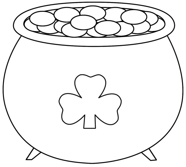 Pot of gold outline clipart vector stock Pot+of+Gold+Printable   Pot of Gold - Coloring Pages   Saint ... vector stock