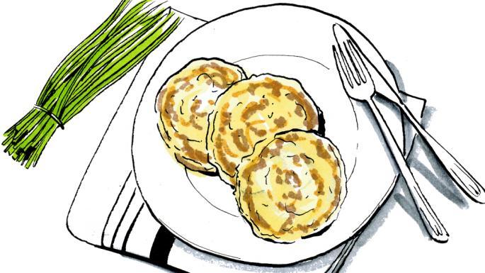 Potato pancake clipart svg freeuse stock Lindsey Bareham\'s potato pancakes with comté and chives ... svg freeuse stock