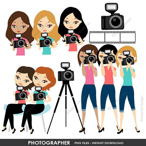 Potatographer clipart vector black and white download Woman Photographer Clip Art, Photographer Clipart Set ... vector black and white download