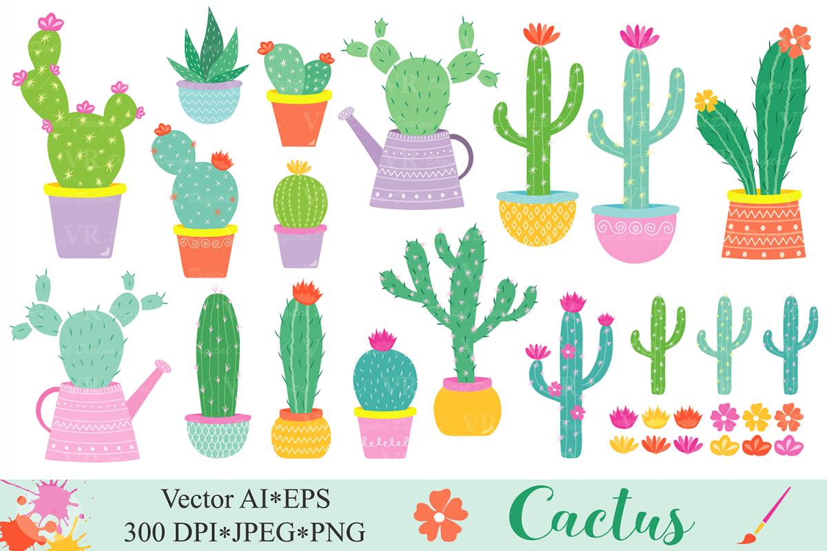 Potted cactus clipart graphic stock Cactus clipart Cacti plants clip art Cute potted cactuses vector graphics  Cactus illustrations graphic stock