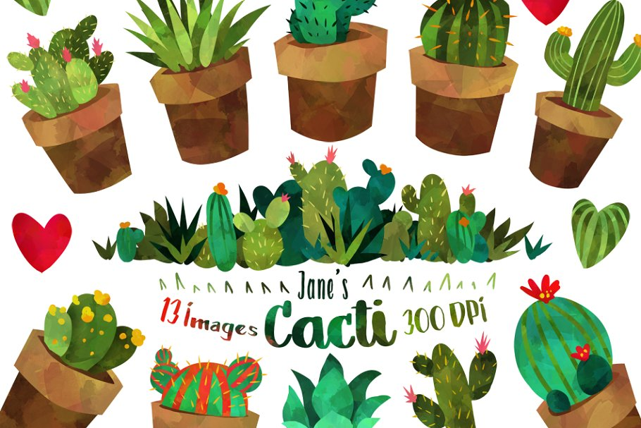 Potted cactus clipart banner freeuse stock Watercolor Cactus Clipart banner freeuse stock