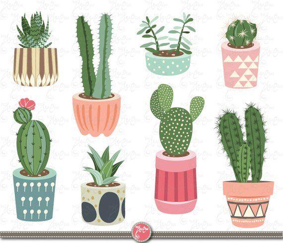 Boho cactus clipart free svg transparent stock Cactus clip art \