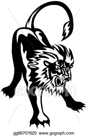 Pouncing clipart clipart freeuse Stock Illustration - Lion big cat attacking retro. Clipart ... clipart freeuse