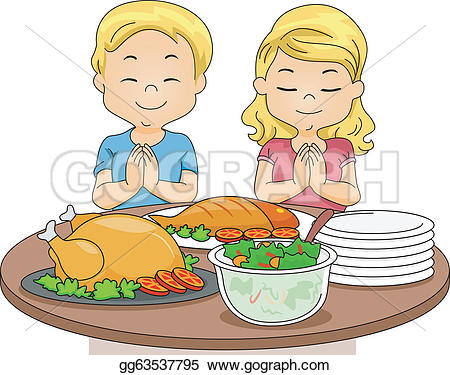 Pray for food clipart vector transparent download Vector Illustration - Praying kids. EPS Clipart gg63537795 - GoGraph vector transparent download