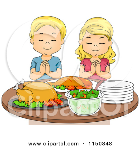 Pray for food clipart graphic free download Cartoon of a Blond Boy and Girl Praying Before a Feast - Royalty ... graphic free download