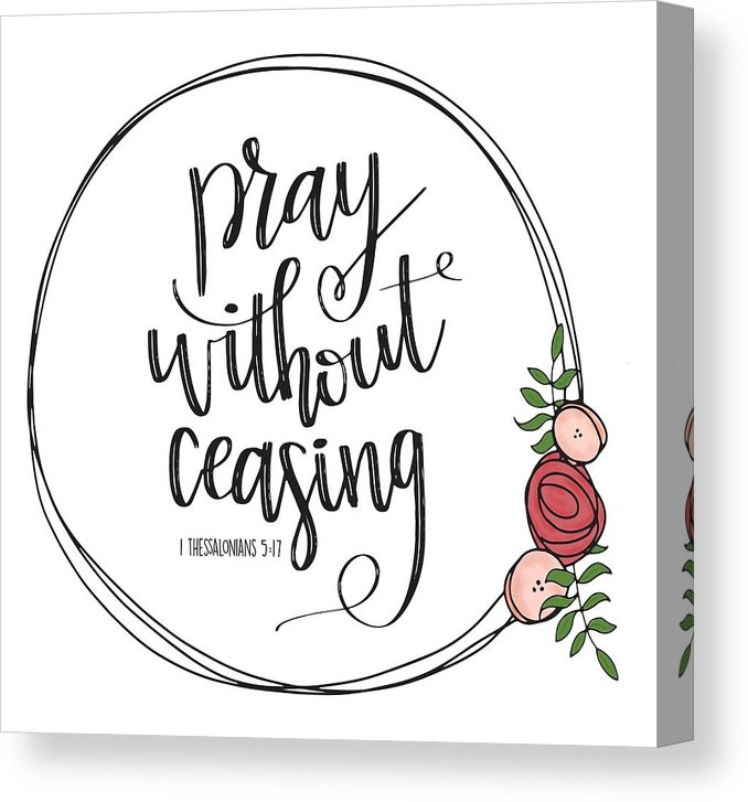 Pray without ceasing black and white clipart clip library library Pray Without Ceasing Wreath Canvas Print clip library library
