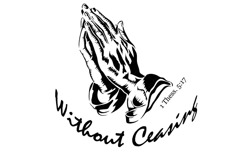 Pray without ceasing black and white clipart picture royalty free stock Pray Without Ceasing T-shirt (WOMEN\'S) picture royalty free stock