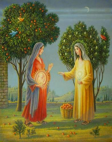 Pregnant mary jesus mom clipart clipart freeuse library Mary and Elisabeth