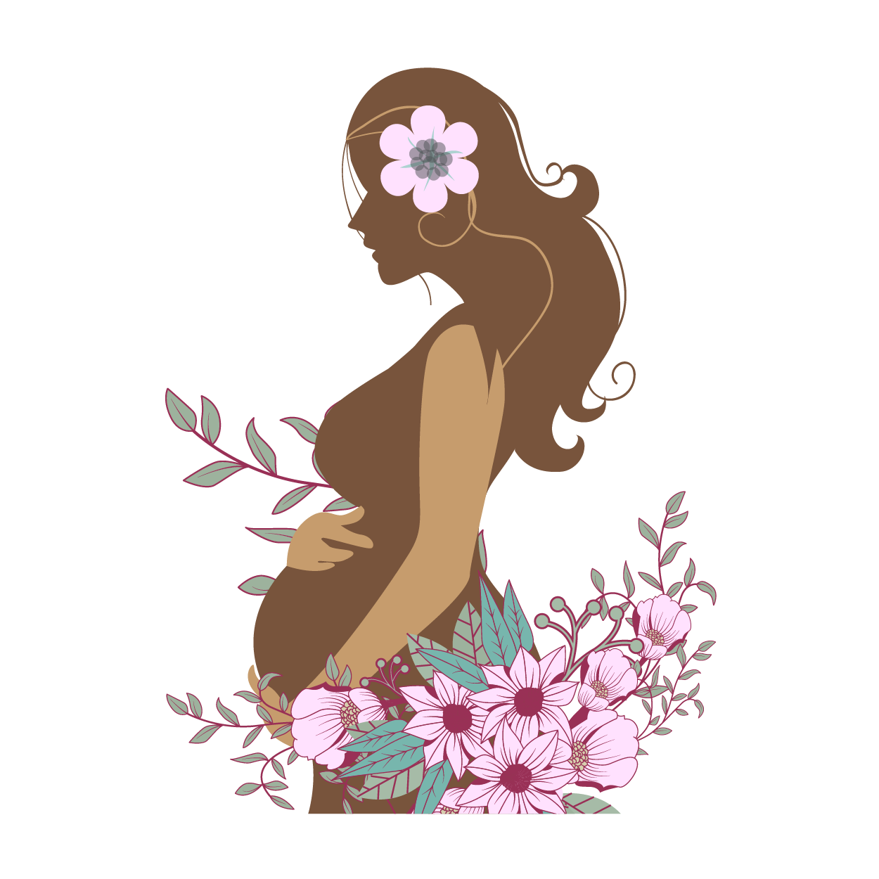 Pregnant women with flowers cliparts clip art download Pregnancy Woman Childbirth Clip art - Vector pregnant woman ... clip art download
