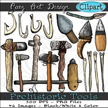 Prehistoric tool clipart svg black and white stock Prehistoric Tools Clipart {Paez Art Design} svg black and white stock