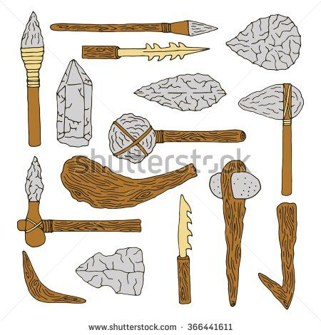 Prehistoric tool clipart picture free Stone age isolated tools set. Weapon caveman - stock vector ... picture free