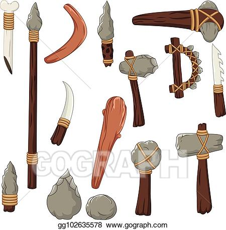 Prehistoric tool clipart clip art black and white download Vector Stock - Set tools of prehistoric man. Stock Clip Art ... clip art black and white download