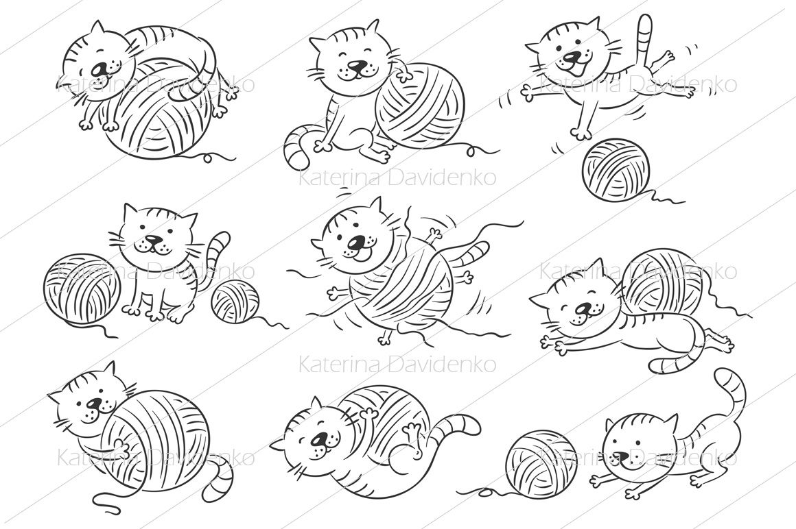 Prepositions of place clipart black and white png black and white stock Cartoon cat in different poses to illustrate the ... png black and white stock