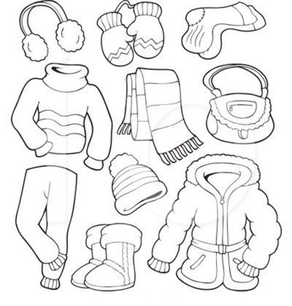 Preschool boys clothing clipart black and white
