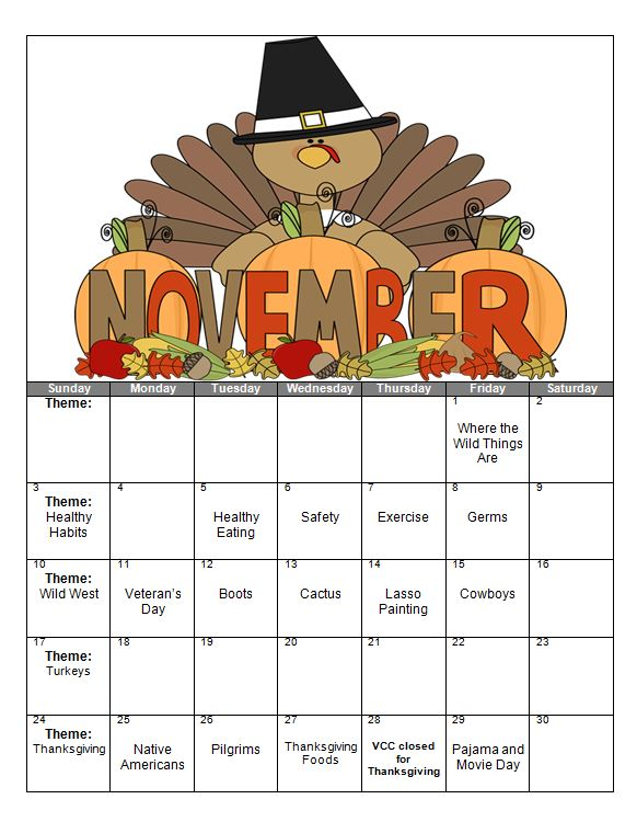 Preschool calendar november clipart graphic royalty free download November Preschool Calendar – Victor Child Care Center graphic royalty free download