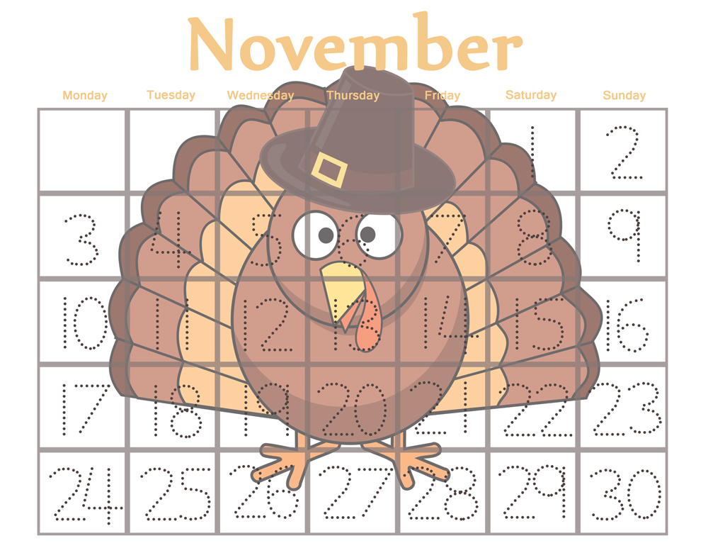 Preschool calendar november clipart graphic free download Traceable Preschool Calendar for November - graphic free download