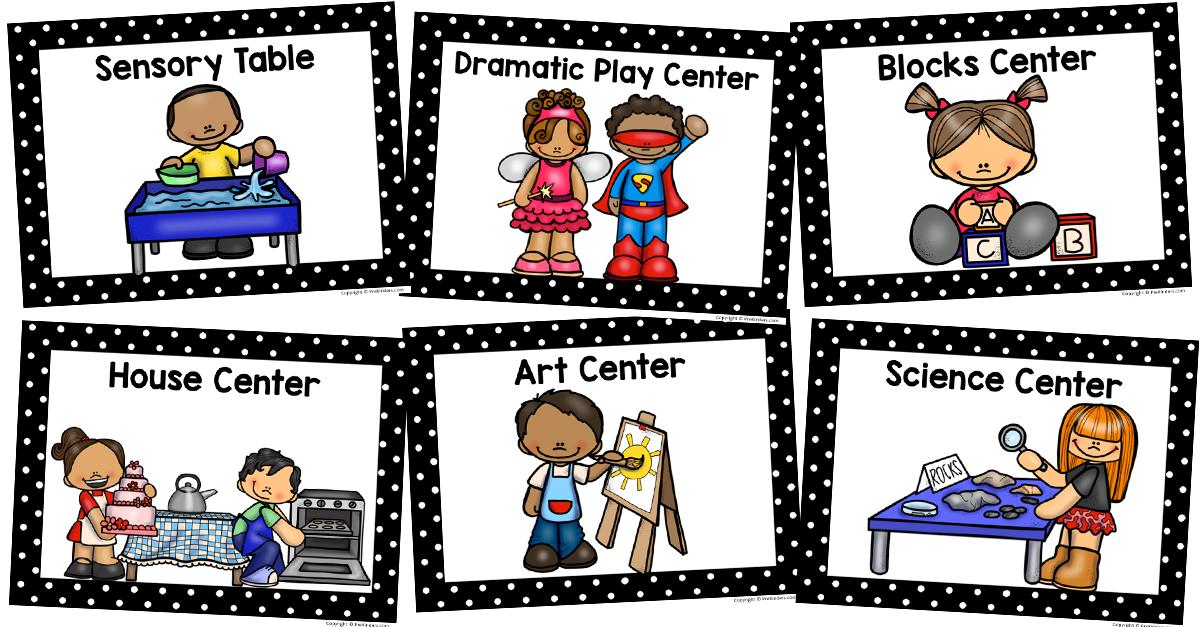 Preschool centers clipart jpg transparent download Center Signs - PreKinders jpg transparent download