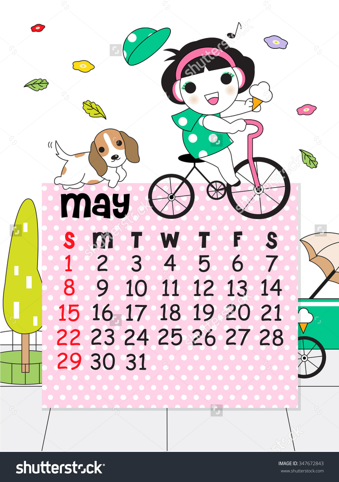 Pretty may 2016 calendar clipart graphic royalty free May Calendar Template 2016 Cute Character Illustration - 347672843 ... graphic royalty free