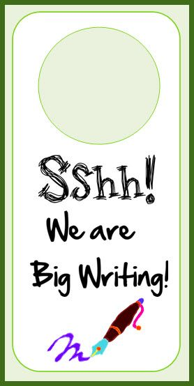 Pretty writing door clipart graphic black and white library Big writing door-hangers - Put these on your doors when you ... graphic black and white library