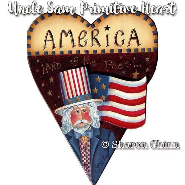 Primitive patriotic heart clipart graphic transparent Uncle Sam Primitive Heart - E-Packet - Sharon Chinn graphic transparent