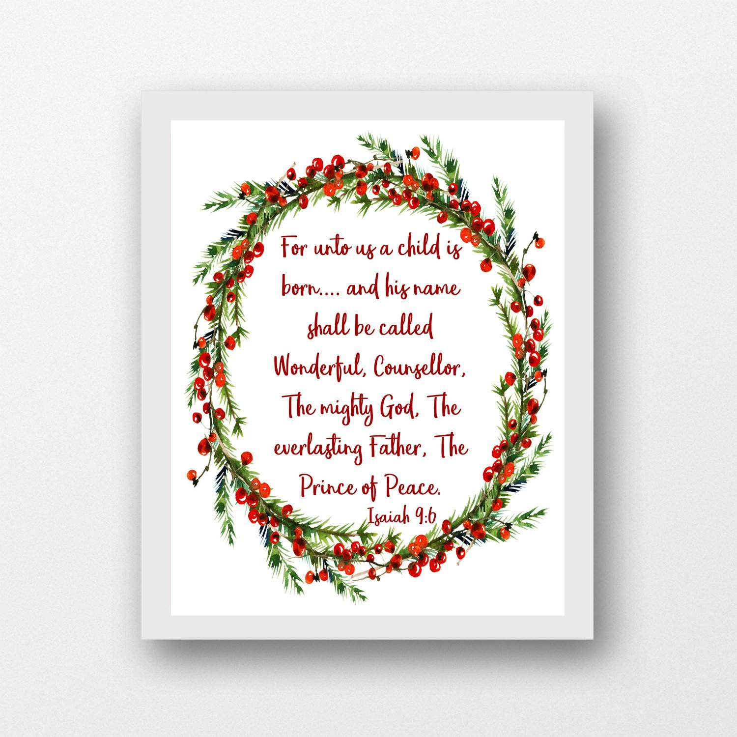 Prince of peace isiah 9 6 clipart png free stock Isaiah 9:6, For Unto Us a Child is Born, printable instant download  Christmas wall art png free stock