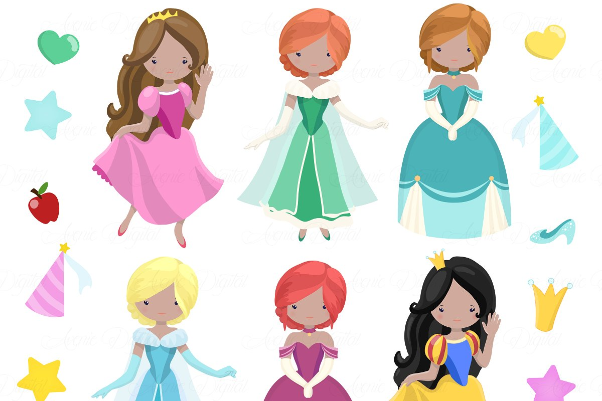 Princedd clipart svg royalty free Fairytale Princess Clipart + Vectors svg royalty free