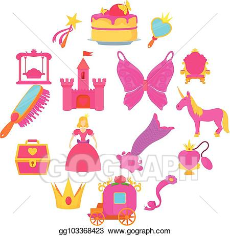 Princess accessories clipart svg freeuse EPS Illustration - Princess accessories icons set, cartoon ... svg freeuse